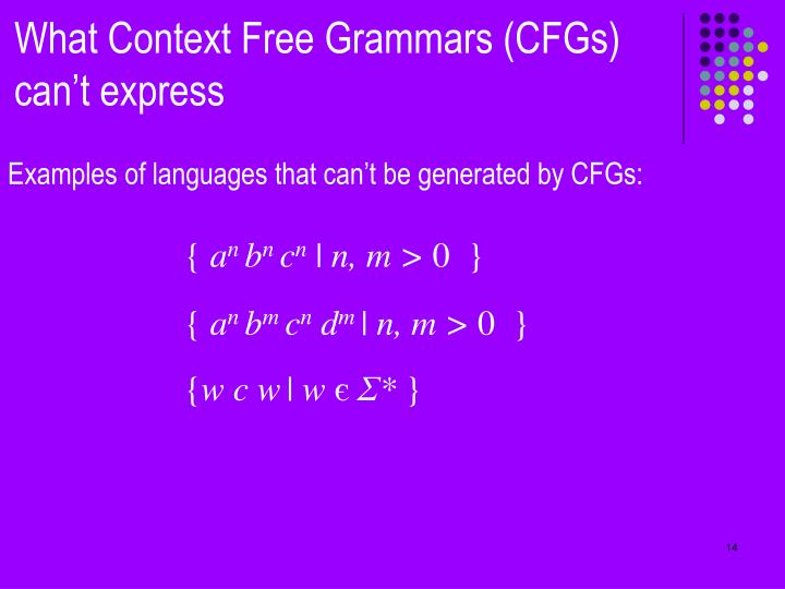 What Context Free Grammars (CFGs) can't express