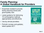 family planning a global handbook for providers