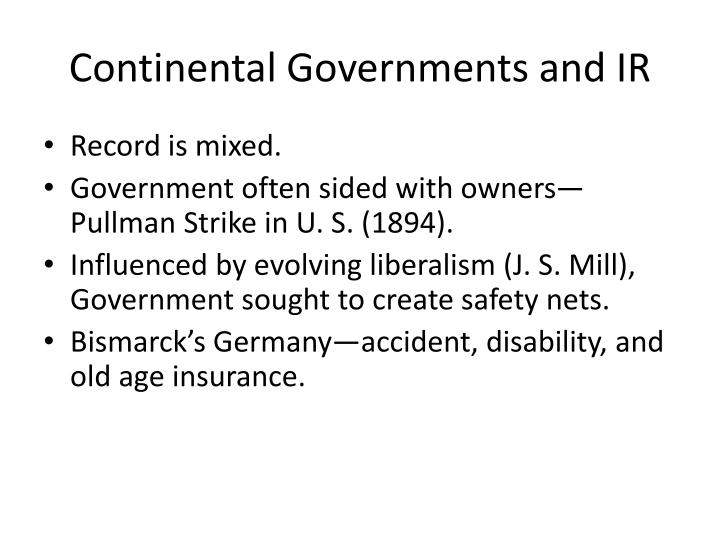 Continental Governments and IR