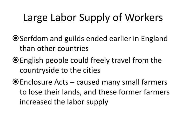 Large Labor Supply of Workers