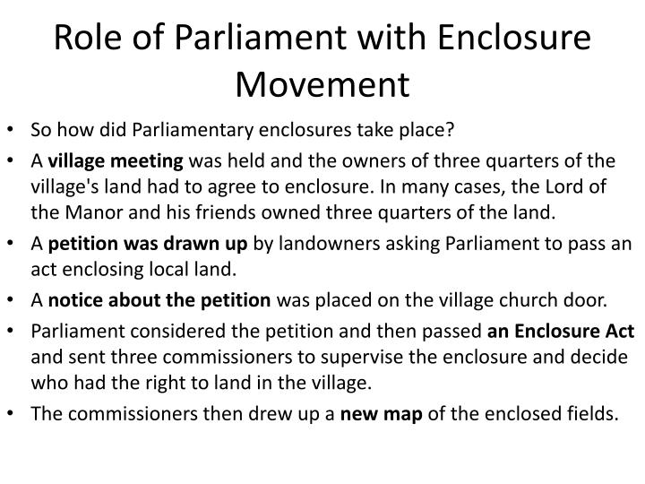 Role of Parliament with Enclosure Movement