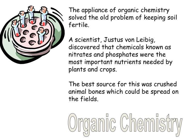 The appliance of organic chemistry solved the old problem of keeping soil fertile.