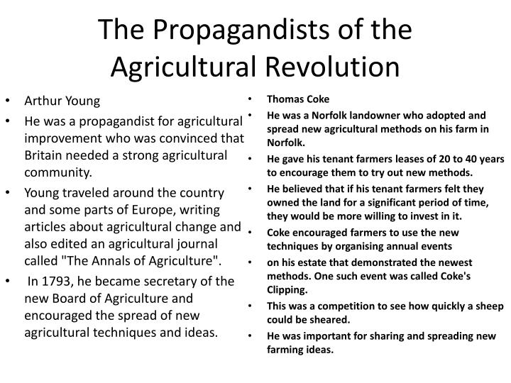 The Propagandists of the Agricultural Revolution
