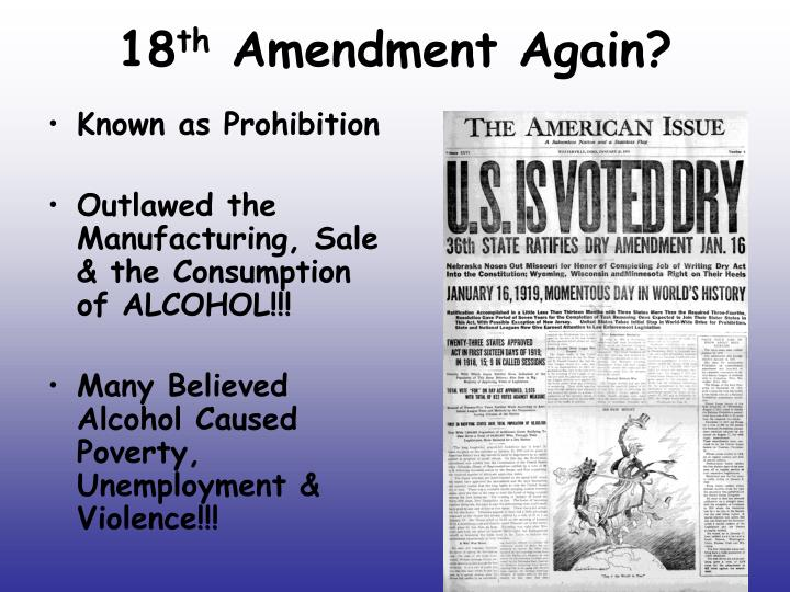 what prompted the actual 18th amendment
