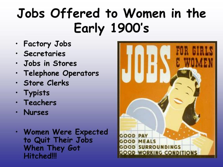 Jobs Offered to Women in the Early 1900's