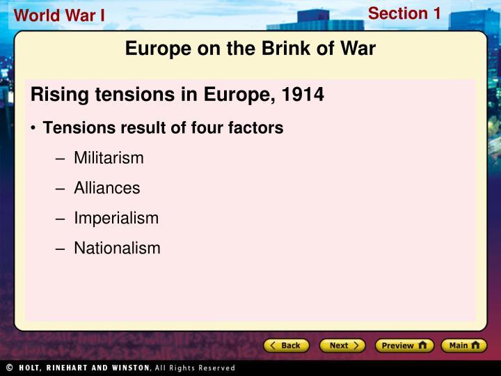 Rising tensions in Europe, 1914
