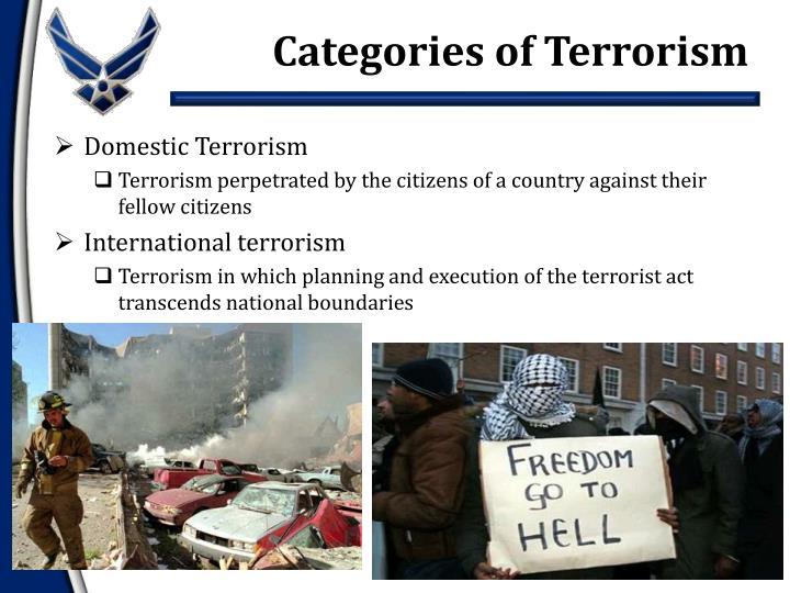 Categories of Terrorism
