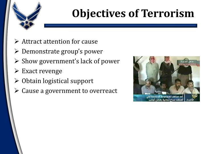 Objectives of Terrorism