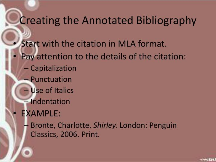 Creating the Annotated Bibliography
