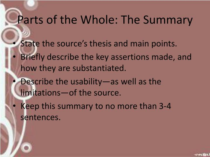 Parts of the Whole: The Summary