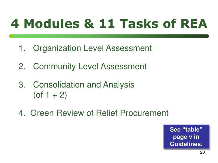 4 Modules & 11 Tasks of REA