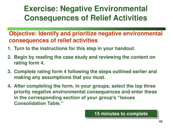 Exercise: Negative Environmental Consequences of Relief Activities