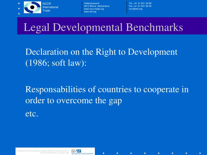 Legal Developmental Benchmarks