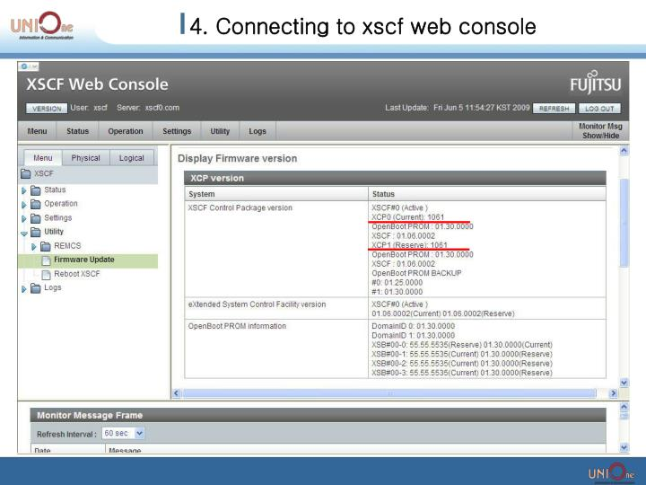 4. Connecting to xscf web console