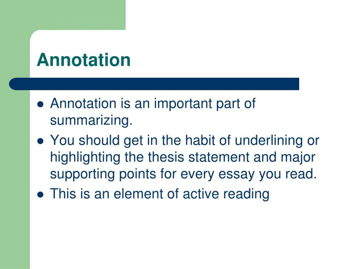 video annotation thesis Thesis: a simple formula for thesis statements in your essays--a sentence that contains your topic + your position on the topic.