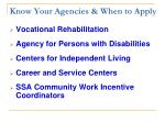 know your agencies when to apply