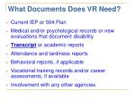 what documents does vr need