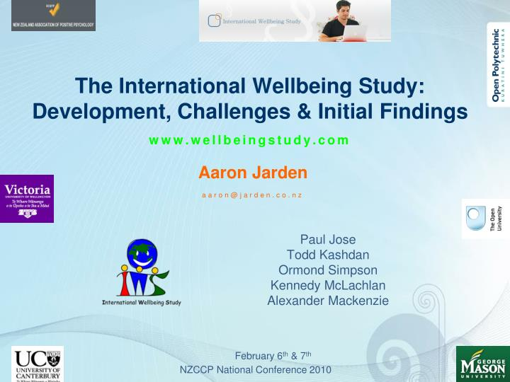 the international wellbeing study development challenges initial findings www wellbeingstudy com