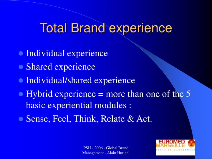 Total Brand experience