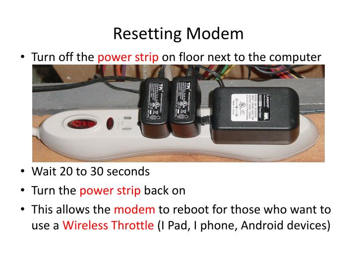 Resetting modem