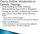 course outline introduction to catholic theology