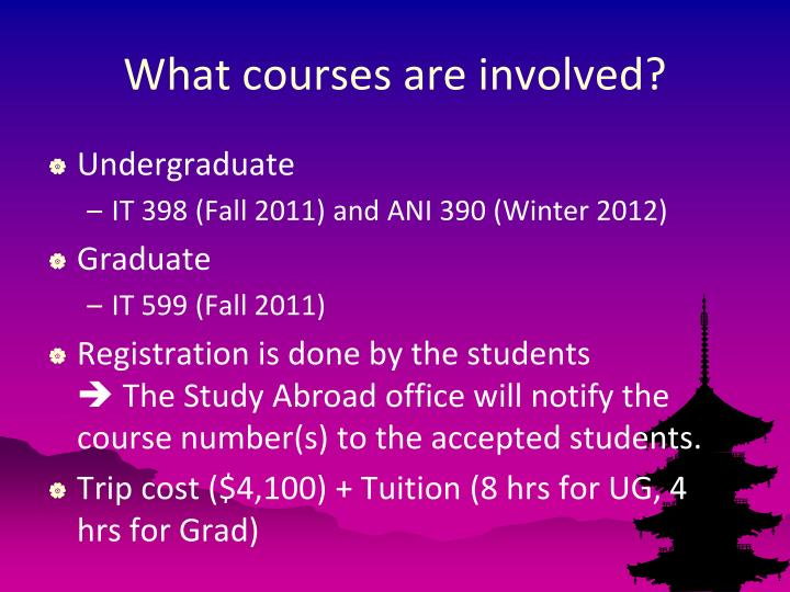 What courses are involved