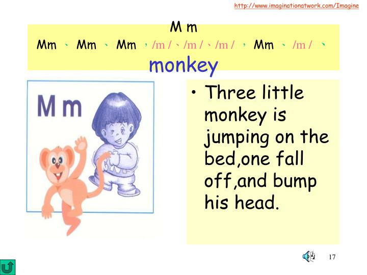 Three little monkey is jumping on the bed,one fall off,and bump his head.
