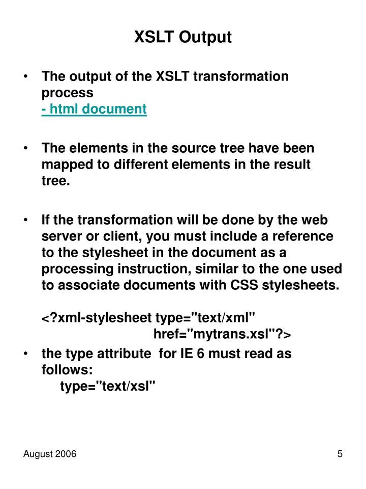 XSLT Output