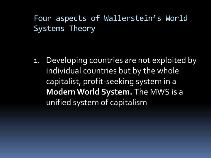 Four aspects of Wallerstein's World Systems Theory