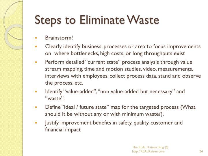 Steps to Eliminate Waste