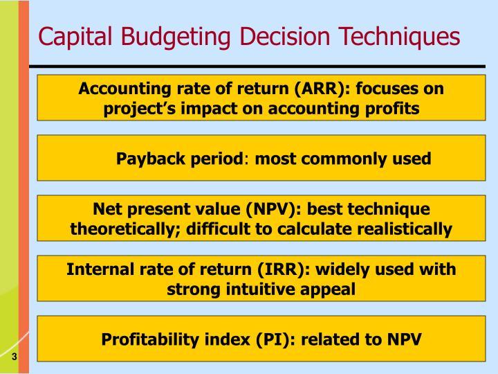 Capital budgeting decision techniques