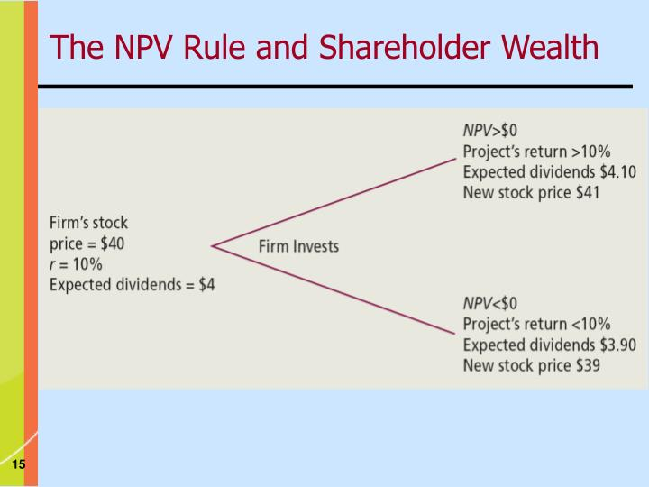 The NPV Rule and Shareholder Wealth