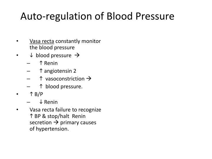 Auto-regulation of Blood Pressure