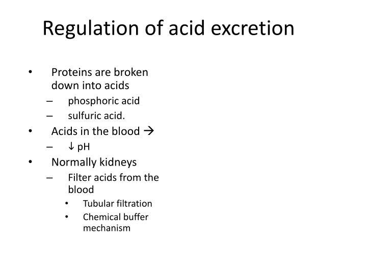 Regulation of acid excretion