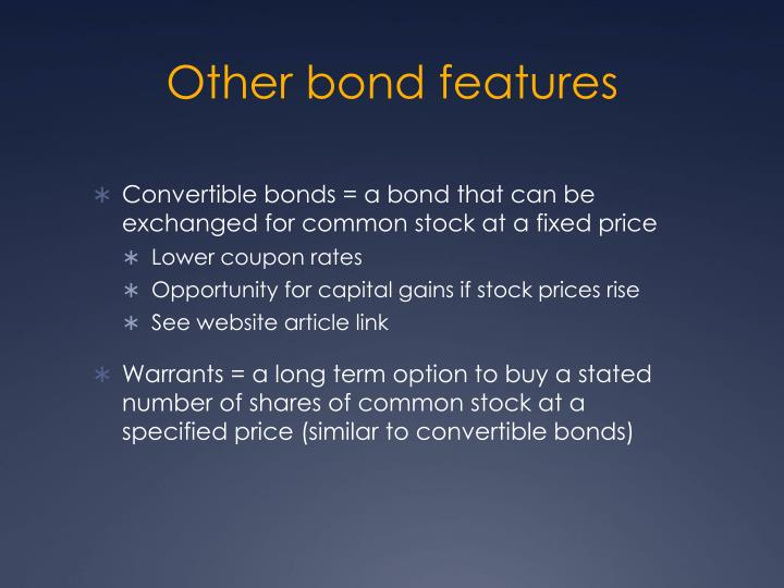 Other bond features