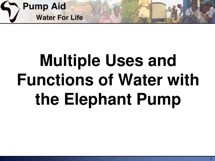 Multiple uses and functions of water with the elephant pump
