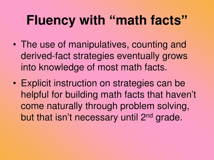 "Fluency with ""math facts"""