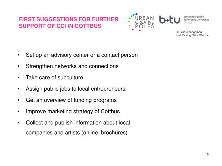 FIRST SUGGESTIONS FOR FURTHER SUPPORT OF CCI IN COTTBUS