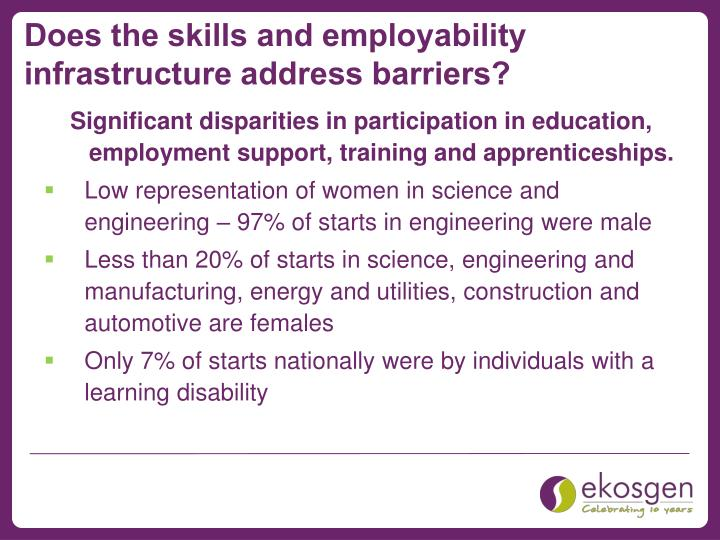 Does the skills and employability infrastructure address barriers?