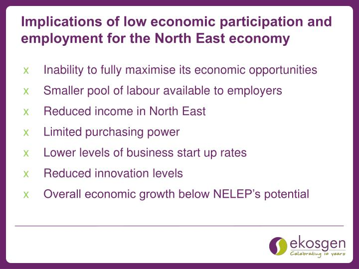 Implications of low economic participation and employment for the North East economy