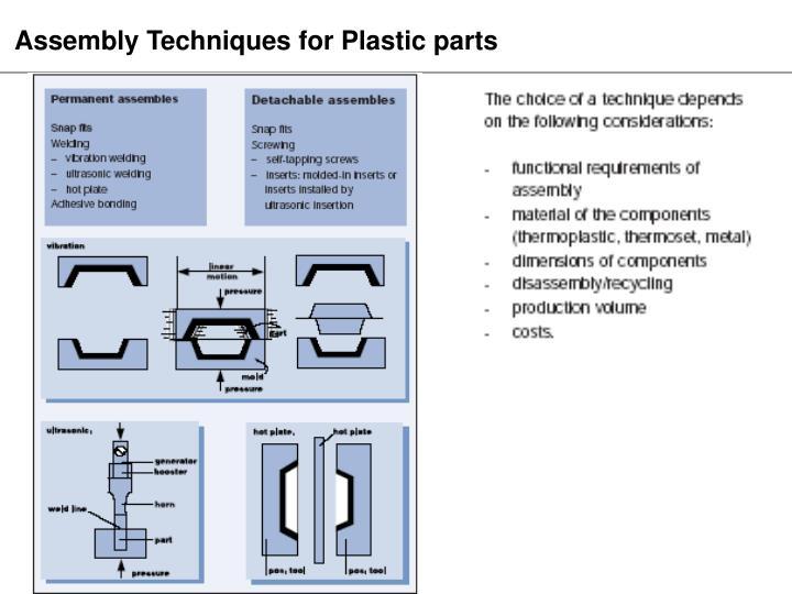 Assembly Techniques for Plastic parts