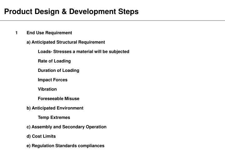 Product Design & Development Steps