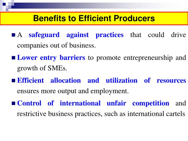 Benefits to Efficient Producers
