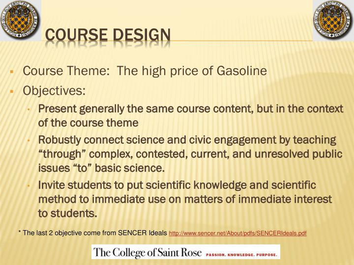 Course Theme:  The high price of Gasoline