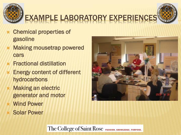 Example Laboratory Experiences