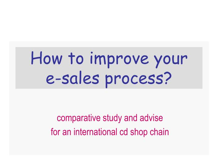 How to improve your e sales process