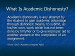 what is academic dishonesty