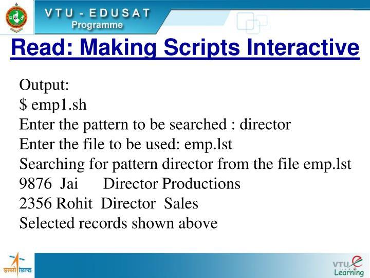 Read: Making Scripts Interactive