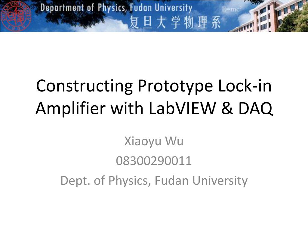 Ppt Constructing Prototype Lock In Amplifier With Labview Daq Lockin Amplifierj N