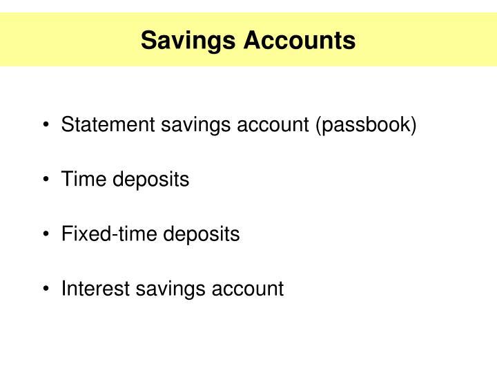 Statement savings account (passbook)